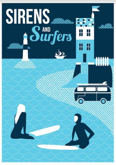 Sirens and surfers signed print