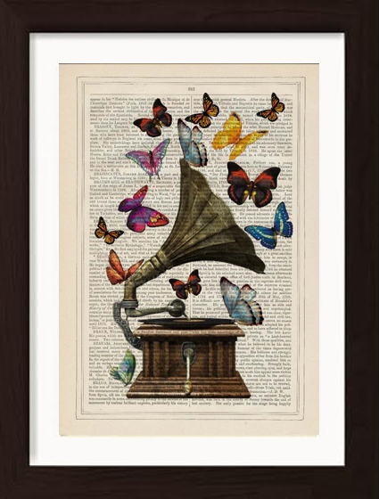 pat-byrne-book-page-print-antique-butterflies-gramophone1