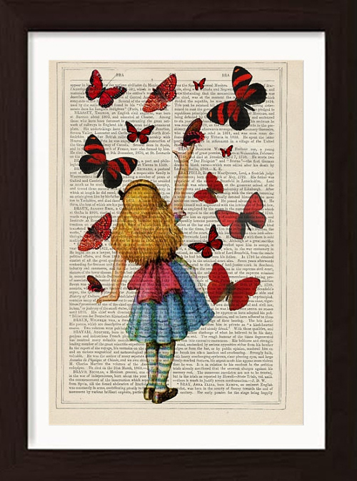Alice releases red butterflies on antique enclopaedia page