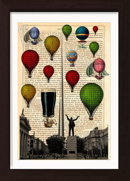 Hot air balloons and guinness balloon over dublin on 1880s antique book page