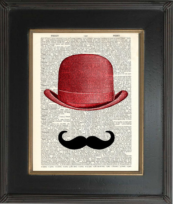 Red Bowler Hat Skull Print on vintage upcycled page - Jam Art ... ccae2f7e2ec