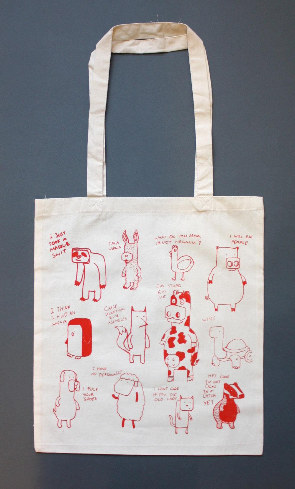 4aebedb02e Animals - Screen Printed Tote bag - Jam Art PrintsJam Art Prints