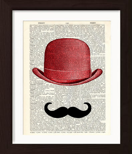 pat-byrne-print-on-vintage-book-page-red-hat-moustache