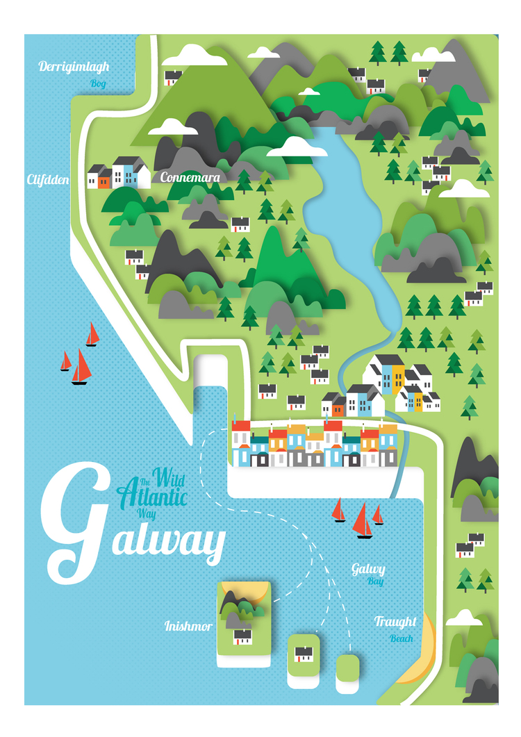 Print Map Of Ireland.Galway Map Signed Print Jam Art Printsjam Art Prints