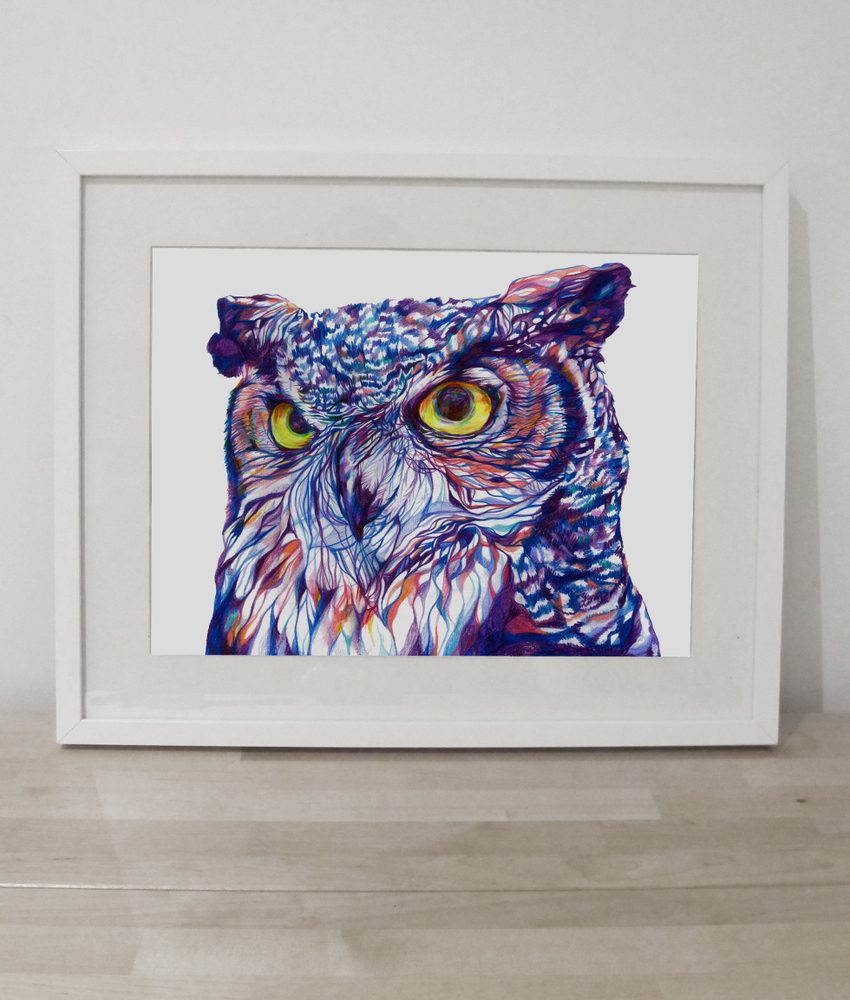 owl signed giclée print jam art printsjam art prints