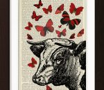 pat-byrne-print-book-antique-music-art-cow -butterflies