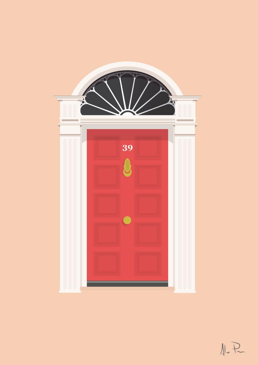 Red Dublin Georgian Door Jam Art Printsjam Art Prints