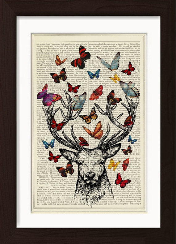 pat-byrne-print-on-vintage-book-page-stag-butterflies
