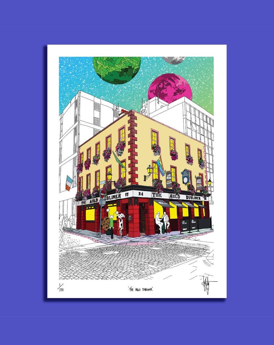 St Stephen/'s Green Dublin limited edition linoprint